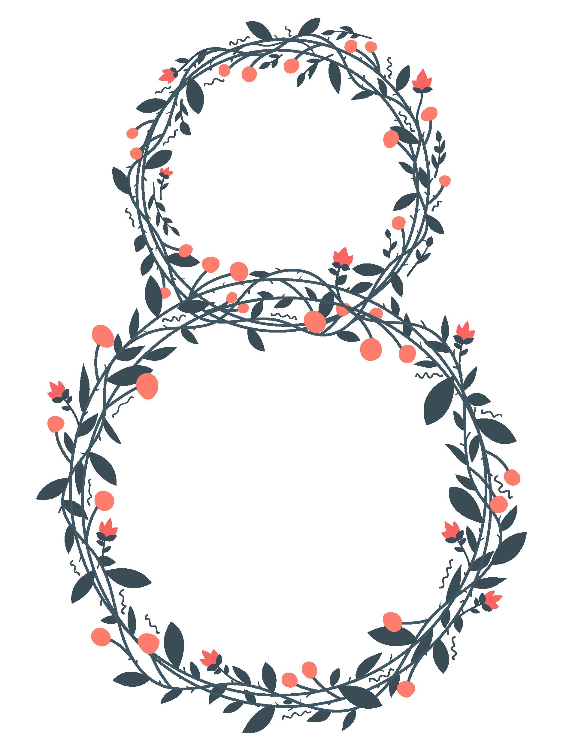 Плетеная цифра восемь,8, из цветов и ягод, нарисованная
