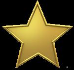 Скачать PNG картинку на прозрачном фоне Пятиконечная звезда, золотая с выдавленными краями