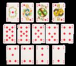 Скачать PNG картинку на прозрачном фоне Разложенный набор игральных карт, бубна