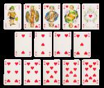 Скачать PNG картинку на прозрачном фоне Разложенный набор игральных карт, черви