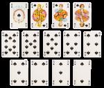 Скачать PNG картинку на прозрачном фоне Разложенный набор игральных карт, пика