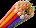 Скачать PNG картинку на прозрачном фоне Разноцветные карандаши в куче, заточенные, вид спереди