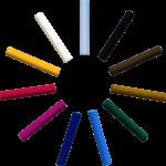 Скачать PNG картинку на прозрачном фоне Разноцветные мелки, разложены в виде солнца, с круглым сечением