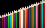 Скачать PNG картинку на прозрачном фоне Разноцветные заточенные карандаши выложены лесенкой