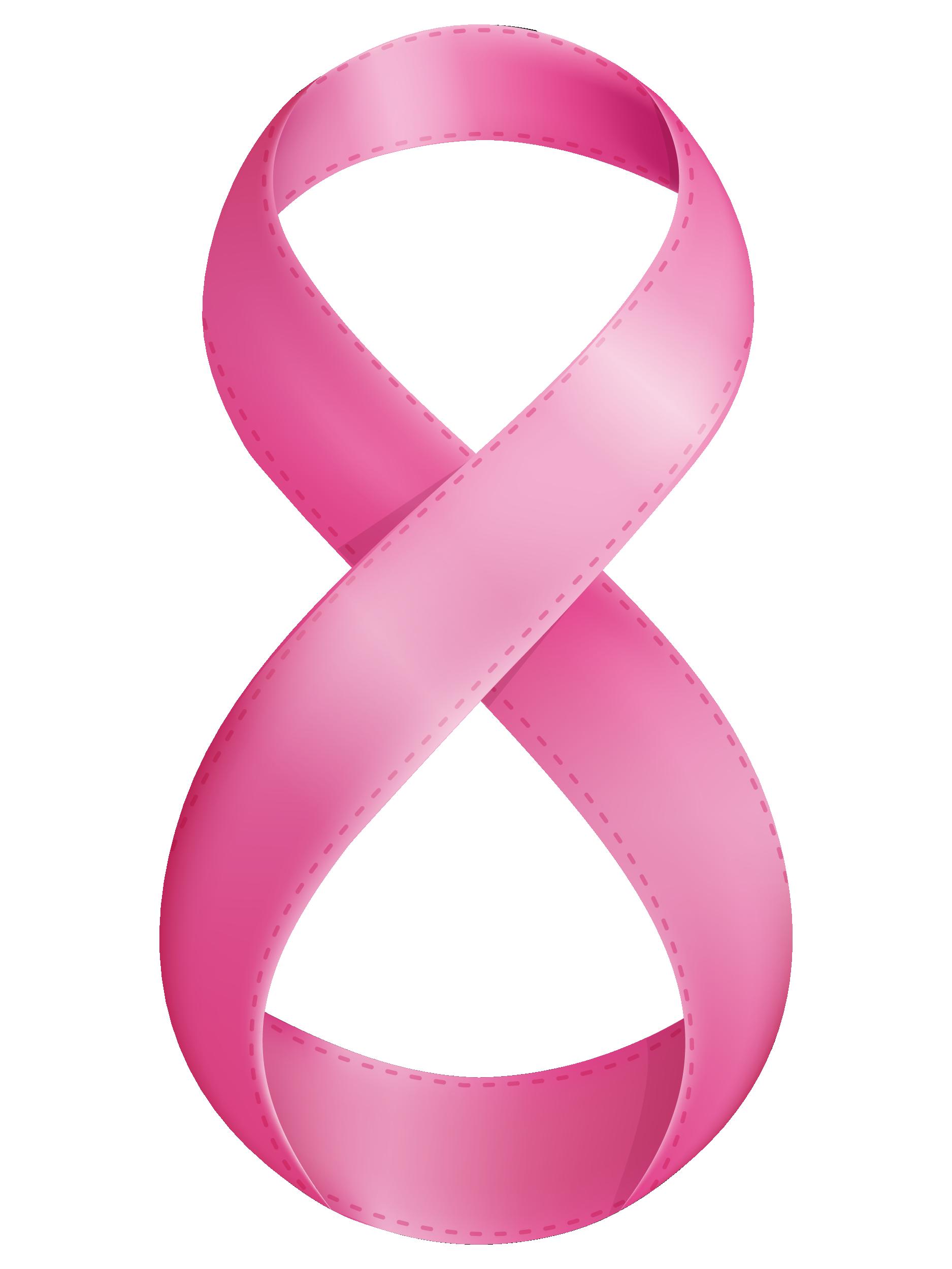 Розовая ленточка цифра восемь, 8