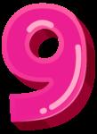 Скачать PNG картинку на прозрачном фоне Розовая объемная цифра 9