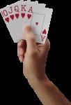 Скачать PNG картинку на прозрачном фоне Рука держит игральные карты, флеш рояль черви