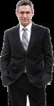 Скачать PNG картинку на прозрачном фоне Руки в карманы, мужчина стоит в черном костюме, смотрит вперед