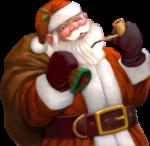 Скачать PNG картинку на прозрачном фоне Санта Клаус, нарисованный держит трубку и мешок