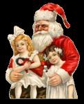 Скачать PNG картинку на прозрачном фоне Санта Клаус, нарисованный в обнимку с двумя девочками