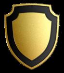Скачать PNG картинку на прозрачном фоне Щит нарисованный, золотой с черной каемкой