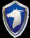 Скачать PNG картинку на прозрачном фоне Щит с головой дракона на синем фоне