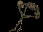 Скачать PNG картинку на прозрачном фоне Сидящий скелет, видд сбоку, нарисованный