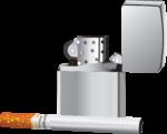 Скачать PNG картинку на прозрачном фоне Сигарета рядом с зажигалкой