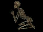 Скачать PNG картинку на прозрачном фоне Скелет нарисованный, на коленях