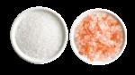 Скачать PNG картинку на прозрачном фоне Соль обычная и оранжевая в тарелках, вид сверху