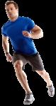 Скачать PNG картинку на прозрачном фоне Спортсмен бежит, в синей футболке, вид спереди
