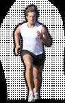 Скачать PNG картинку на прозрачном фоне Спортсмен в белой футболке, бежит, вид спереди