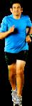 Скачать PNG картинку на прозрачном фоне Спортсмен в голубой футболке бежит вперед