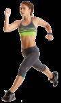Скачать PNG картинку на прозрачном фоне Спортсменка бежит с большими шагами, вид сбоку