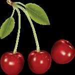 Скачать PNG картинку на прозрачном фоне Три красных нарисованных ягод черешни, рядом
