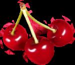 Скачать PNG картинку на прозрачном фоне Три красных спелых ягоды черешни, на одной веточке