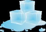 Скачать PNG картинку на прозрачном фоне Три нарисованные кубика льда, с лужей воды