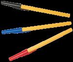 Скачать PNG картинку на прозрачном фоне Три желтые шариковые ручки с разноцветными колпачками