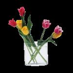 Скачать PNG картинку на прозрачном фоне Тюльпаны в прозрачной вазе
