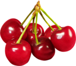 Скачать PNG картинку на прозрачном фоне Ягоды черешни, красные с веточками