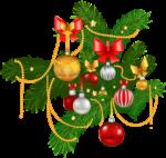 Скачать PNG картинку на прозрачном фоне Ёлочная ветка, новогодняя игрушки, гирлянды, яркая