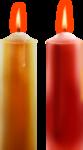 Скачать PNG картинку на прозрачном фоне Желтая и красная свечка рядом, горят