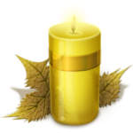 Скачать PNG картинку на прозрачном фоне Желтая нарисованная горящая свечка с листьями