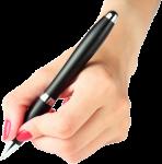 Скачать PNG картинку на прозрачном фоне Женская, левая рука держит черную шариковую ручку