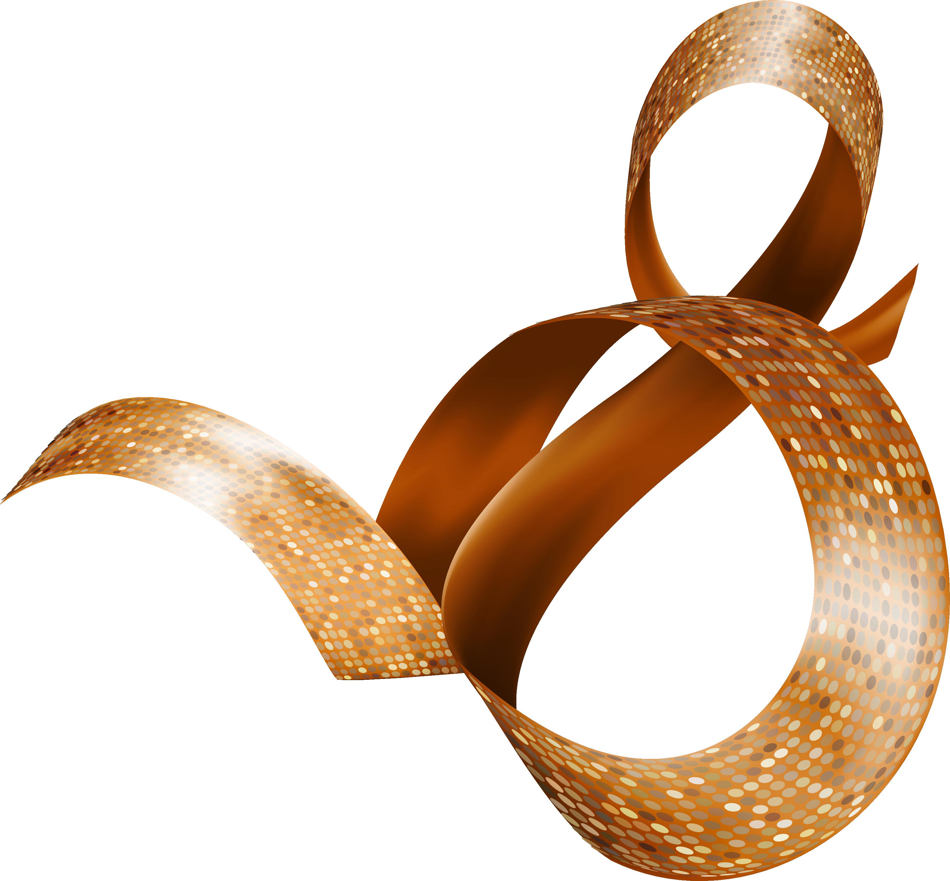 Золотая ленточка цифрой восемь,8