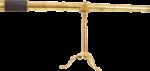 Скачать PNG картинку на прозрачном фоне Золотая подзорная труба с черной вставкой на подставке