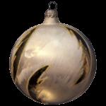 Скачать PNG картинку на прозрачном фоне золотой ёлочный шар с морозным узором